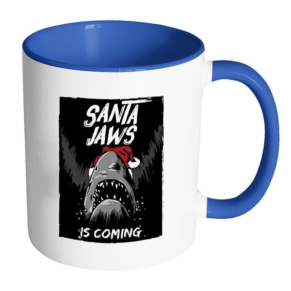 Santa Jaws Is Coming Festive Funny Ugly Christmas Holiday Sweater 11oz Accent Coffee Mug (7 Colors)-Drinkware-Accent Mug - Blue-JoyHip.Com