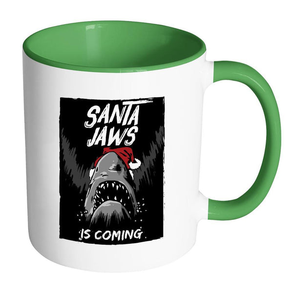 Santa Jaws Is Coming Festive Funny Ugly Christmas Holiday Sweater 11oz Accent Coffee Mug (7 Colors)-Drinkware-Accent Mug - Green-JoyHip.Com