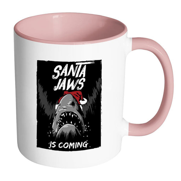 Santa Jaws Is Coming Festive Funny Ugly Christmas Holiday Sweater 11oz Accent Coffee Mug (7 Colors)-Drinkware-Accent Mug - Pink-JoyHip.Com