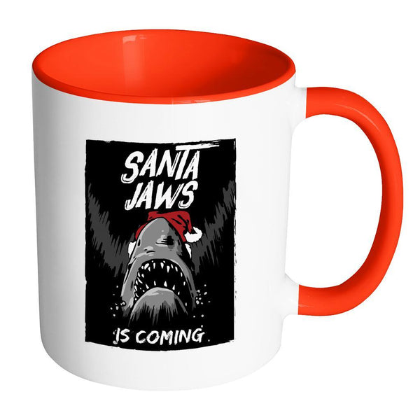 Santa Jaws Is Coming Festive Funny Ugly Christmas Holiday Sweater 11oz Accent Coffee Mug (7 Colors)-Drinkware-Accent Mug - Red-JoyHip.Com