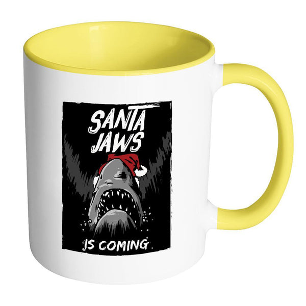 Santa Jaws Is Coming Festive Funny Ugly Christmas Holiday Sweater 11oz Accent Coffee Mug (7 Colors)-Drinkware-Accent Mug - Yellow-JoyHip.Com