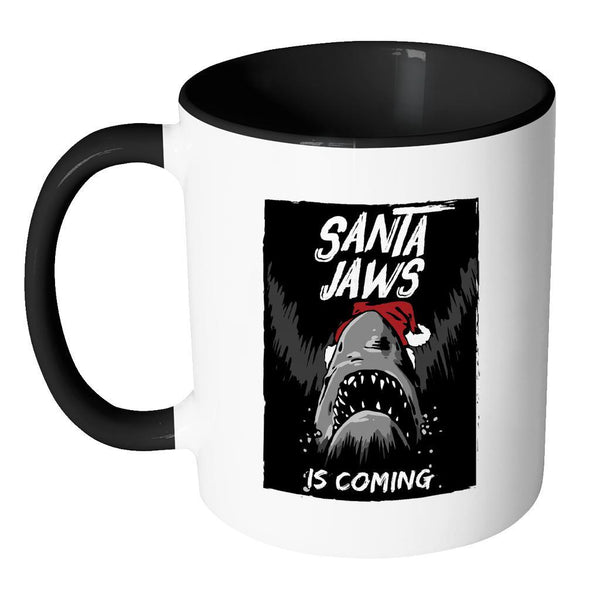 Santa Jaws Is Coming Festive Funny Ugly Christmas Holiday Sweater 11oz Accent Coffee Mug (7 Colors)-Drinkware-JoyHip.Com