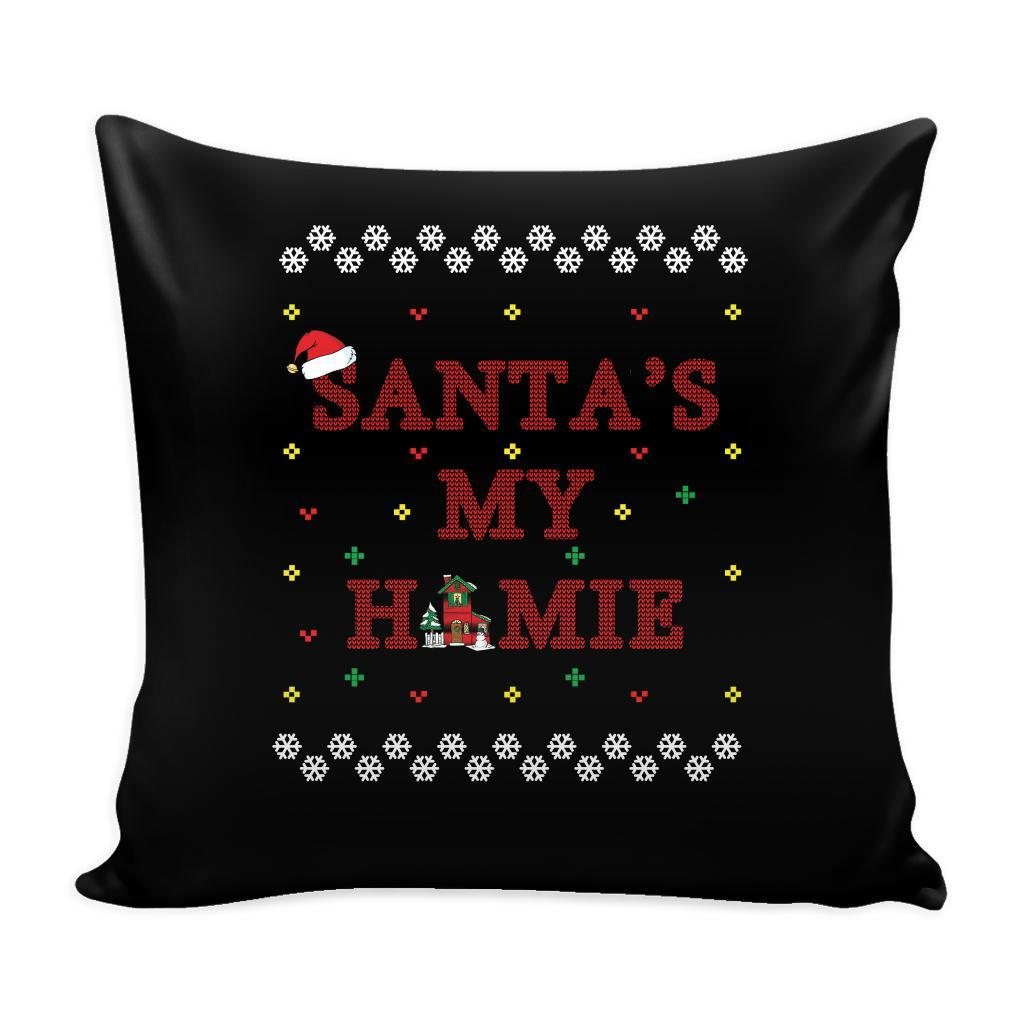 Santa's My Homie Funny Festive Funny Ugly Christmas Holiday Sweater Decorative Throw Pillow Cases Cover(4 Colors)-Pillows-Black-JoyHip.Com