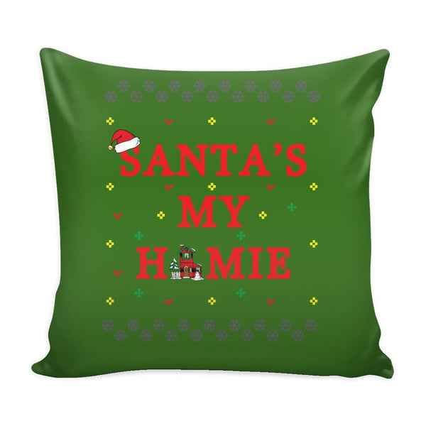 Santa's My Homie Funny Festive Funny Ugly Christmas Holiday Sweater Decorative Throw Pillow Cases Cover(4 Colors)-Pillows-Green-JoyHip.Com