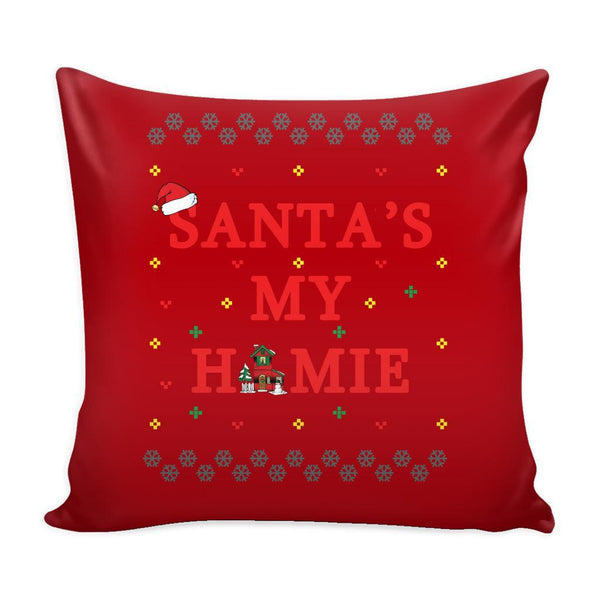 Santa's My Homie Funny Festive Funny Ugly Christmas Holiday Sweater Decorative Throw Pillow Cases Cover(4 Colors)-Pillows-Red-JoyHip.Com
