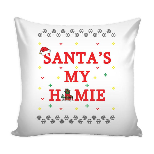 Santa's My Homie Funny Festive Funny Ugly Christmas Holiday Sweater Decorative Throw Pillow Cases Cover(4 Colors)-Pillows-White-JoyHip.Com