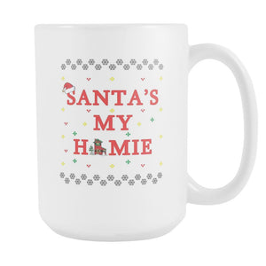 Santa's My Homie Funny Ugly Christmas Sweater White 15oz Coffee Mug-Drinkware-Ugly Christmas Sweater White 15oz Coffee Mug-JoyHip.Com