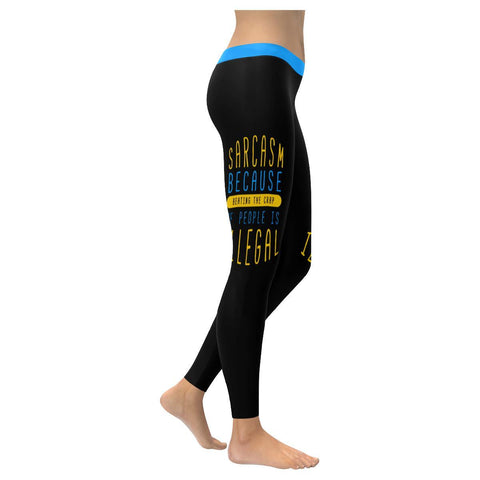 Sarcasm Because Beating The Crap Of People Is Illegal Soft Leggings For Women-XXS-Black-JoyHip.Com