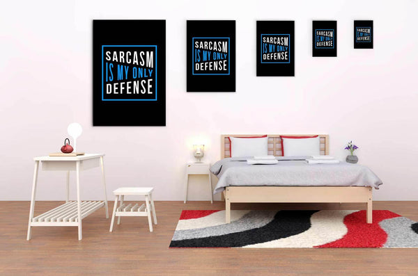 Sarcasm Is My Only Defense Canvas Wall Art Room Decor Funny Sarcastic Gift Ideas-Canvas Wall Art 2-JoyHip.Com