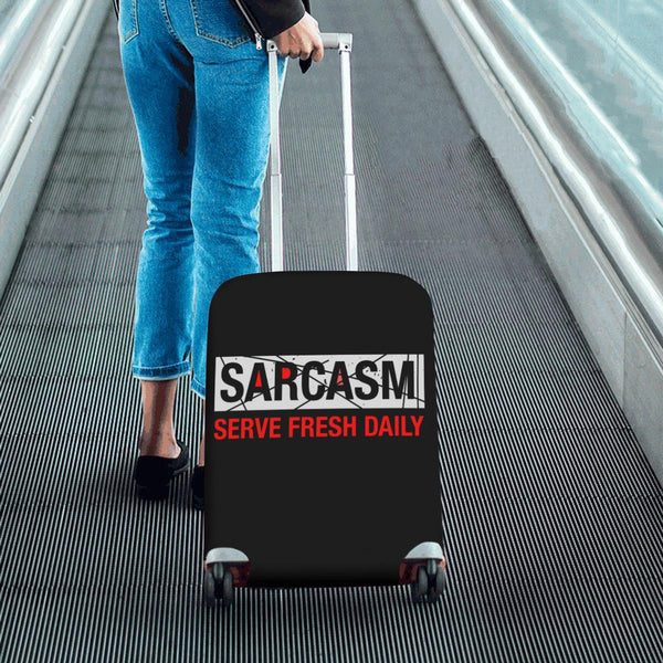 Sarcasm Serve Fresh Daily Sarcastic Travel Luggage Cover Suitcase Protector-JoyHip.Com