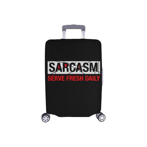 Sarcasm Serve Fresh Daily Sarcastic Travel Luggage Cover Suitcase Protector-S-Black-JoyHip.Com