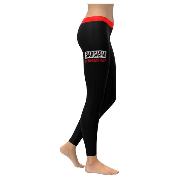 Sarcasm Serve Fresh Daily Soft Leggings For Women Cool Cute Funny Sarcastic Gift-XXS-Black-JoyHip.Com