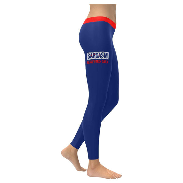 Sarcasm Serve Fresh Daily Soft Leggings For Women Cool Cute Funny Sarcastic Gift-XXS-Navy-JoyHip.Com