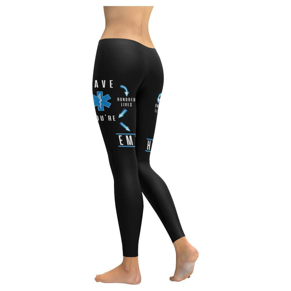 Save One Life Youre Hero Save Hundred Lives Youre EMT Paramedics Womens Leggings-JoyHip.Com