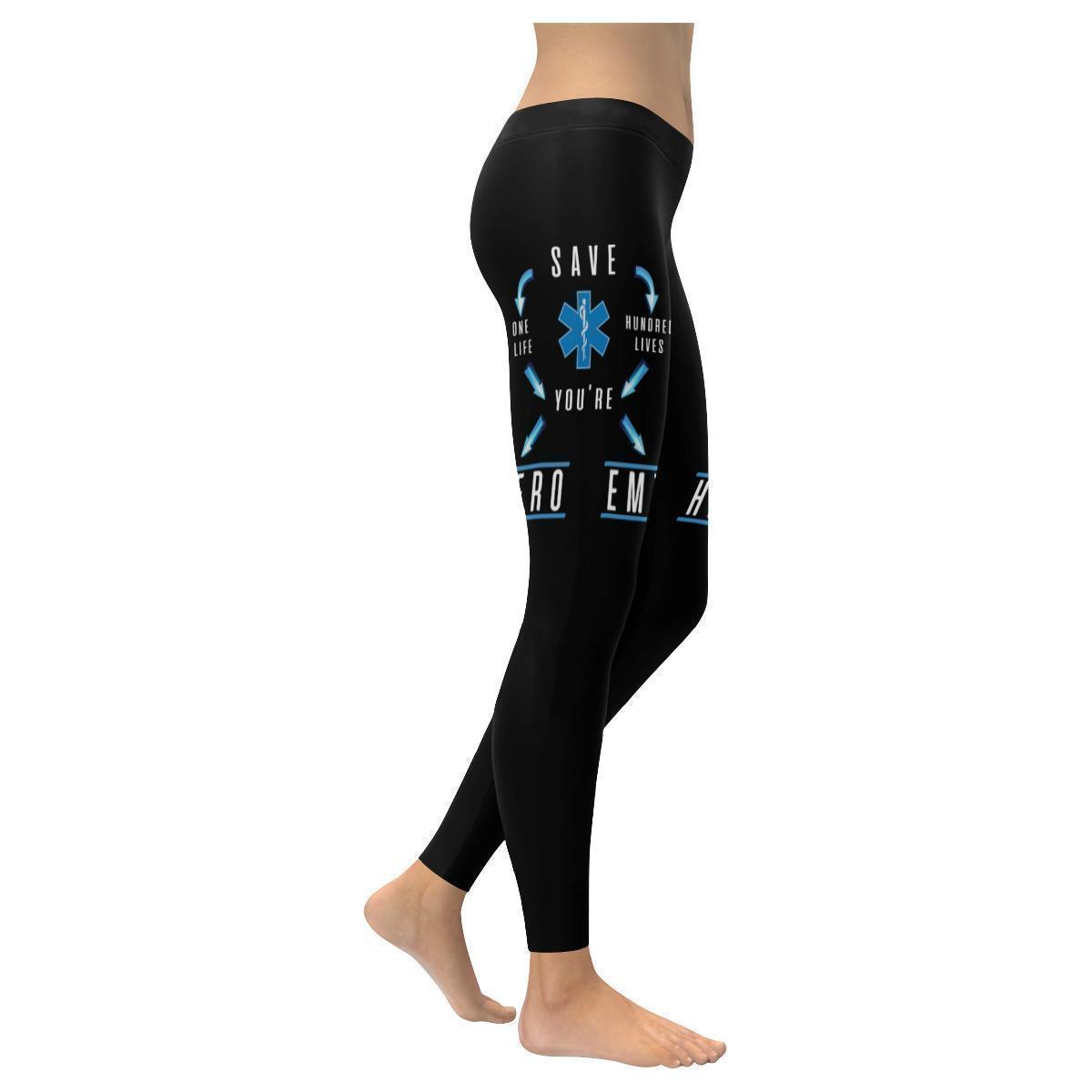 Save One Life Youre Hero Save Hundred Lives Youre EMT Paramedics Womens Leggings-XXS-Black-JoyHip.Com