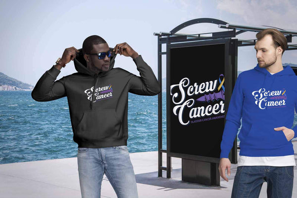 Screw Bladder Cancer Awareness Yellow Blue & Purple Ribbon Awesome Gift Hoodie-T-shirt-JoyHip.Com