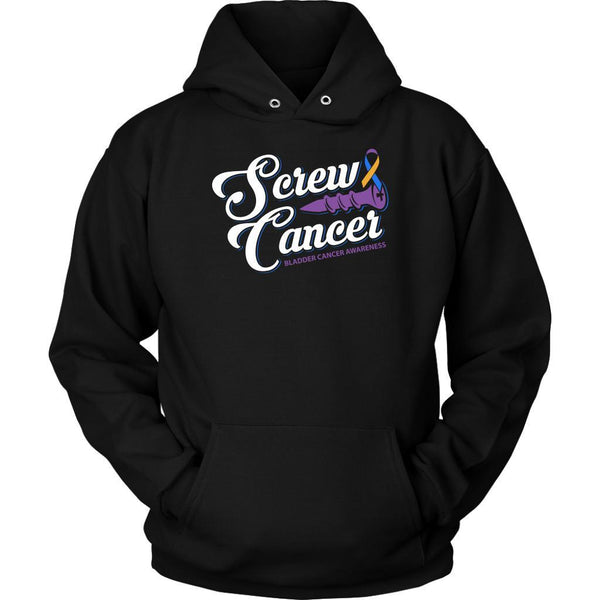 Screw Bladder Cancer Awareness Yellow Blue & Purple Ribbon Awesome Gift Hoodie-T-shirt-Unisex Hoodie-Black-JoyHip.Com