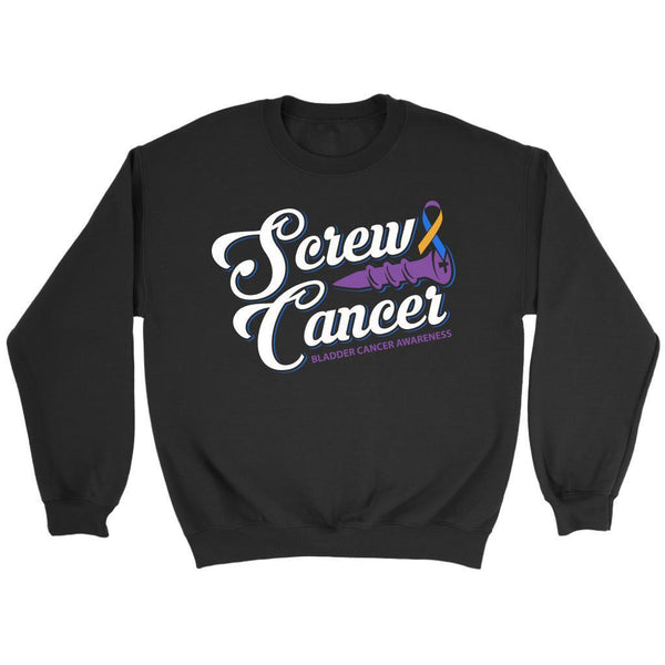 Screw Bladder Cancer Awareness Yellow Blue & Purple Ribbon Awesome Gift Sweater-T-shirt-Crewneck Sweatshirt-Black-JoyHip.Com