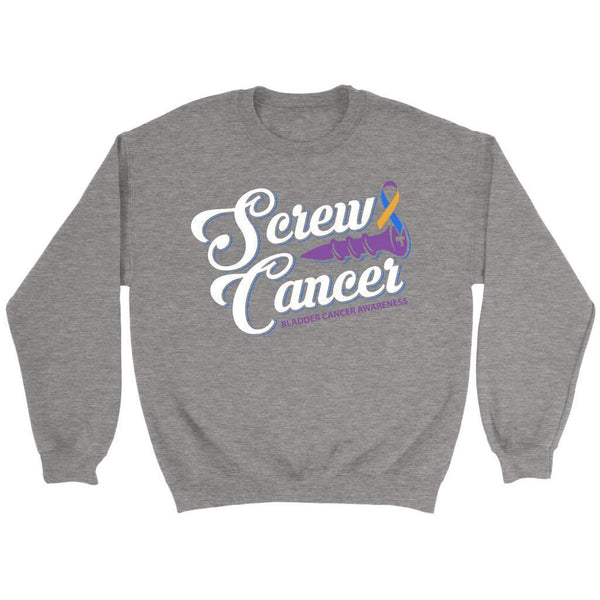 Screw Bladder Cancer Awareness Yellow Blue & Purple Ribbon Awesome Gift Sweater-T-shirt-Crewneck Sweatshirt-Grey-JoyHip.Com