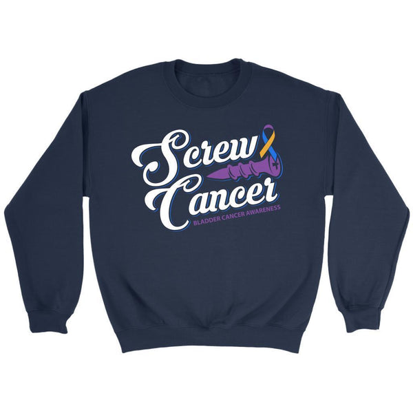 Screw Bladder Cancer Awareness Yellow Blue & Purple Ribbon Awesome Gift Sweater-T-shirt-Crewneck Sweatshirt-Navy-JoyHip.Com