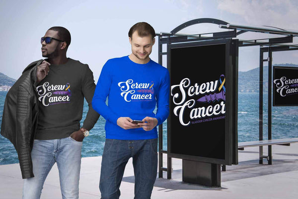 Screw Bladder Cancer Awareness Yellow Blue & Purple Ribbon Awesome Gift Sweater-T-shirt-JoyHip.Com