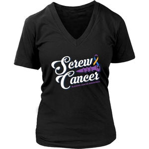 Screw Bladder Cancer Awareness Yellow Blue Purple Ribbon Gift Idea VNeck TShirt-T-shirt-District Womens V-Neck-Black-JoyHip.Com