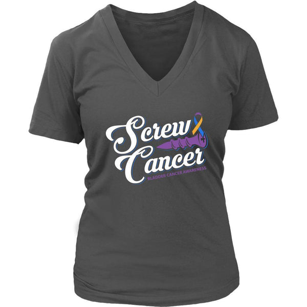 Screw Bladder Cancer Awareness Yellow Blue Purple Ribbon Gift Idea VNeck TShirt-T-shirt-District Womens V-Neck-Grey-JoyHip.Com
