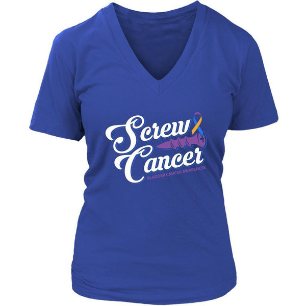 Screw Bladder Cancer Awareness Yellow Blue Purple Ribbon Gift Idea VNeck TShirt-T-shirt-District Womens V-Neck-Royal Blue-JoyHip.Com