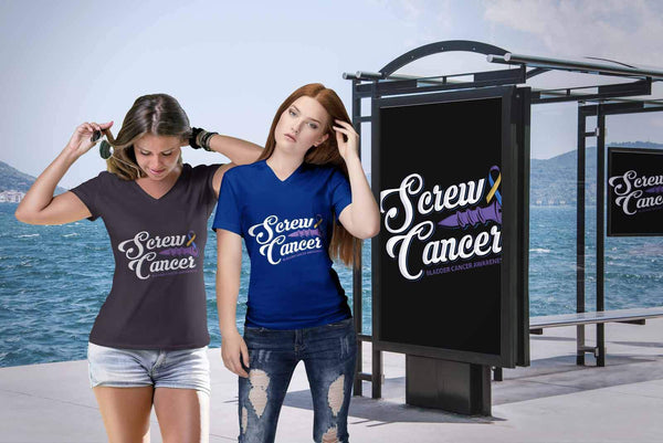 Screw Bladder Cancer Awareness Yellow Blue Purple Ribbon Gift Idea VNeck TShirt-T-shirt-JoyHip.Com