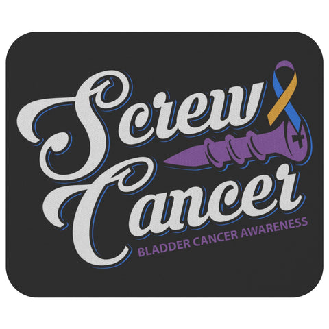 Screw Bladder Cancer Blue Yellow Purple Ribbon Gift Chemo Patient Mouse Pad-Mousepads-Black-JoyHip.Com