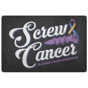 Screw Cancer Bladder Cancer Awareness 18X26 Thin Indoor DoorMat Outdoor Room Rug-Doormat-Black-JoyHip.Com