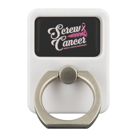 Screw Cancer Breast Cancer Awareness Phone Ring Holder Kickstand Gifts Idea-Ringr - Multi-Tool Accessory-Ringr - Multi-Tool Accessory-JoyHip.Com