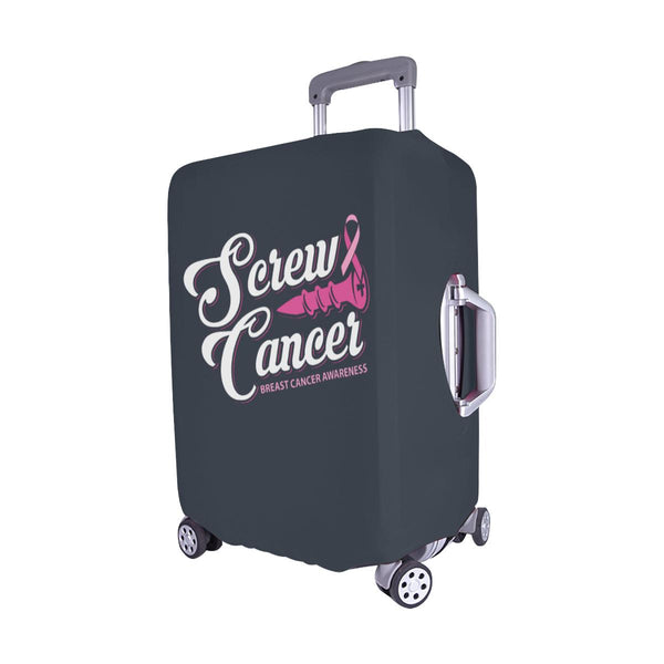 Screw Cancer Breast Cancer Awareness Travel Luggage Cover Suitcase Protector-JoyHip.Com