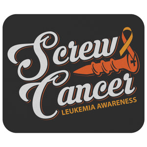 Screw Cancer Orange Ribbon Awareness Comfort Gift For Chemo Patient Mouse Pad-Mousepads-Black-JoyHip.Com