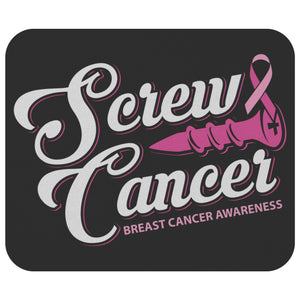 Screw Cancer Pink Ribbon Awareness Comfort Gift For Chemo Patient Cute Mouse Pad-Mousepads-Black-JoyHip.Com