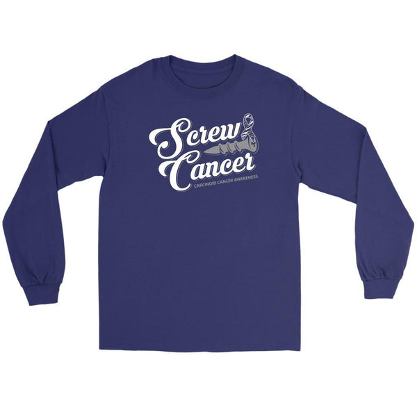 Screw Carcinoid Cancer Awareness Zebra Stripe Ribbon Cool Gift Ideas Long Sleeve-T-shirt-Gildan Long Sleeve Tee-Purple-JoyHip.Com