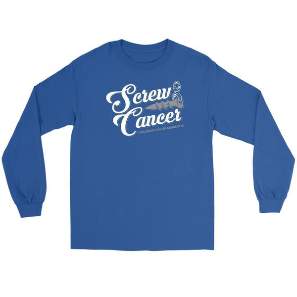 Screw Carcinoid Cancer Awareness Zebra Stripe Ribbon Cool Gift Ideas Long Sleeve-T-shirt-Gildan Long Sleeve Tee-Royal Blue-JoyHip.Com