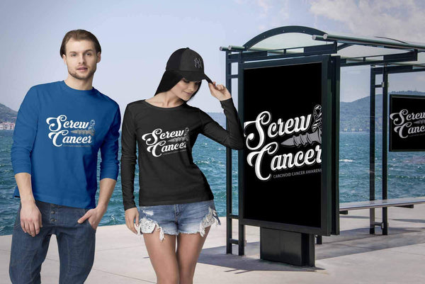 Screw Carcinoid Cancer Awareness Zebra Stripe Ribbon Cool Gift Ideas Long Sleeve-T-shirt-JoyHip.Com
