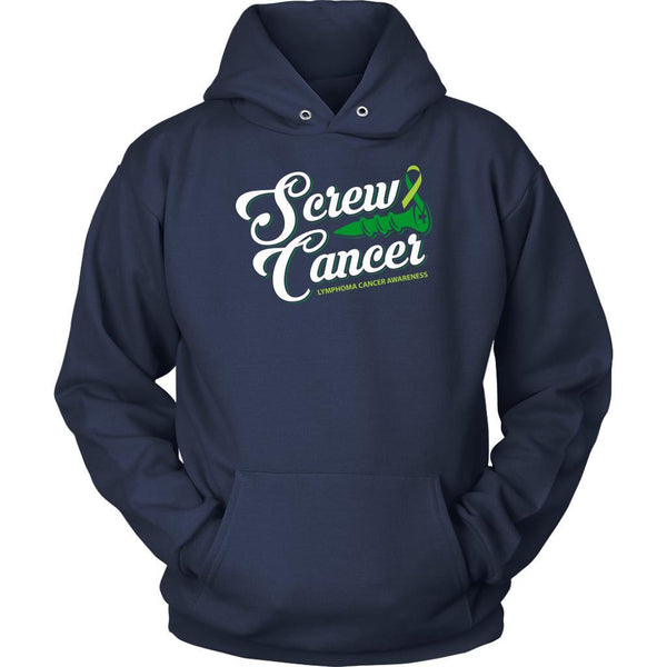 Screw Lymphoma Awareness Lime Green Ribbon Awesome Cool Gift Ideas Hoodie-T-shirt-Unisex Hoodie-Navy-JoyHip.Com