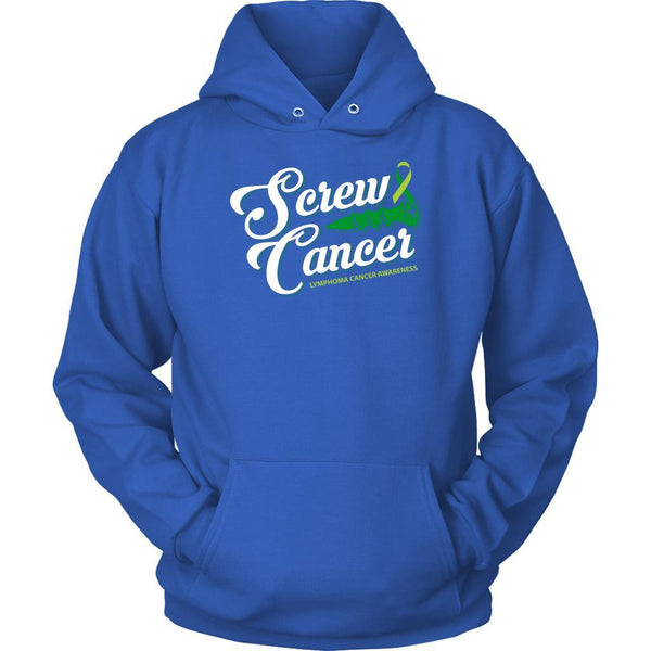 Screw Lymphoma Awareness Lime Green Ribbon Awesome Cool Gift Ideas Hoodie-T-shirt-Unisex Hoodie-Royal Blue-JoyHip.Com