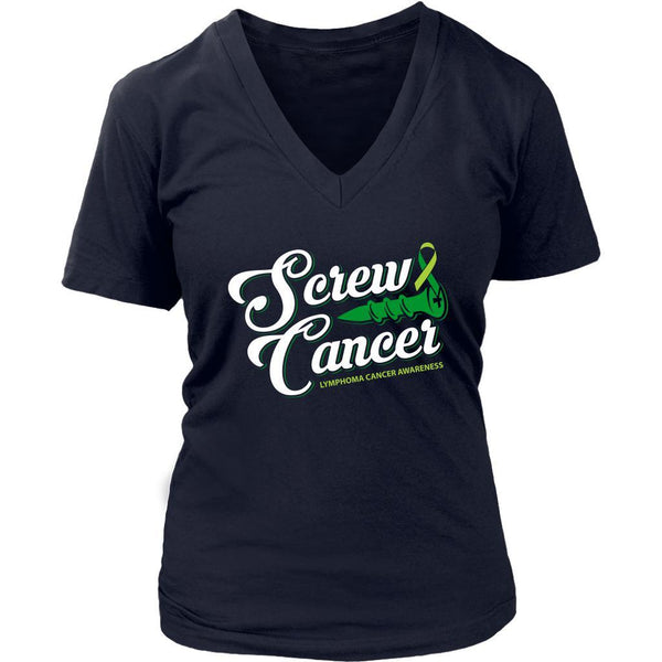 Screw Lymphoma Awareness Lime Green Ribbon Awesome Cool Gift VNeck TShirt-T-shirt-District Womens V-Neck-Navy-JoyHip.Com