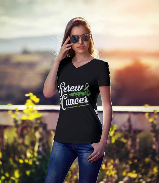 Screw Lymphoma Awareness Lime Green Ribbon Awesome Cool Gift VNeck TShirt-T-shirt-JoyHip.Com