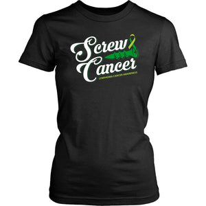 Screw Lymphoma Awareness Lime Green Ribbon Awesome Cool Gift Women TShirt-T-shirt-District Womens Shirt-Black-JoyHip.Com
