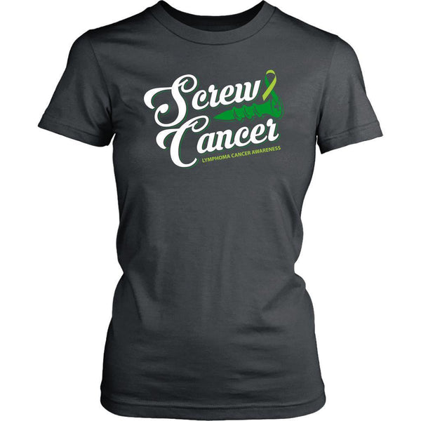 Screw Lymphoma Awareness Lime Green Ribbon Awesome Cool Gift Women TShirt-T-shirt-District Womens Shirt-Grey-JoyHip.Com