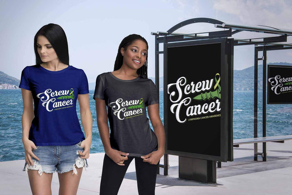 Screw Lymphoma Awareness Lime Green Ribbon Awesome Cool Gift Women TShirt-T-shirt-JoyHip.Com