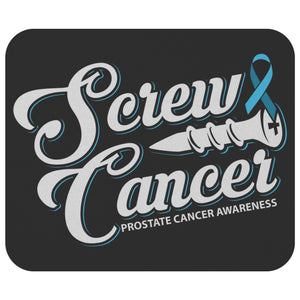 Screw Prostate Cancer Mouse Pad Light Blue Ribbon Gifts Ideas MousePad-Mousepads-Black-JoyHip.Com