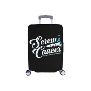 "Screw Prostate Cancer Travel Luggage Cover Suitcase Protector 18""-28"" Baggage-S-Black-JoyHip.Com"