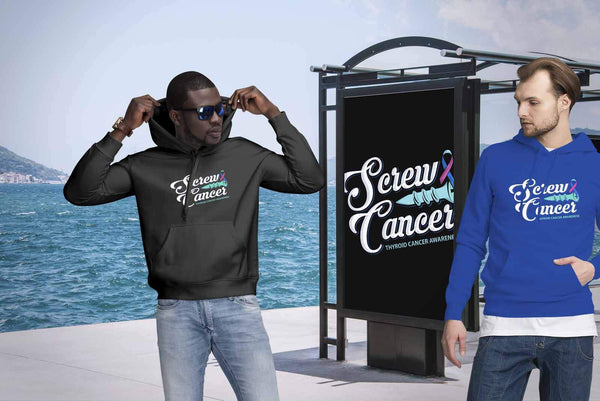 Screw Thyroid Cancer Awareness Teal Pink & Blue Ribbon Awesome Cool Gift Hoodie-T-shirt-JoyHip.Com