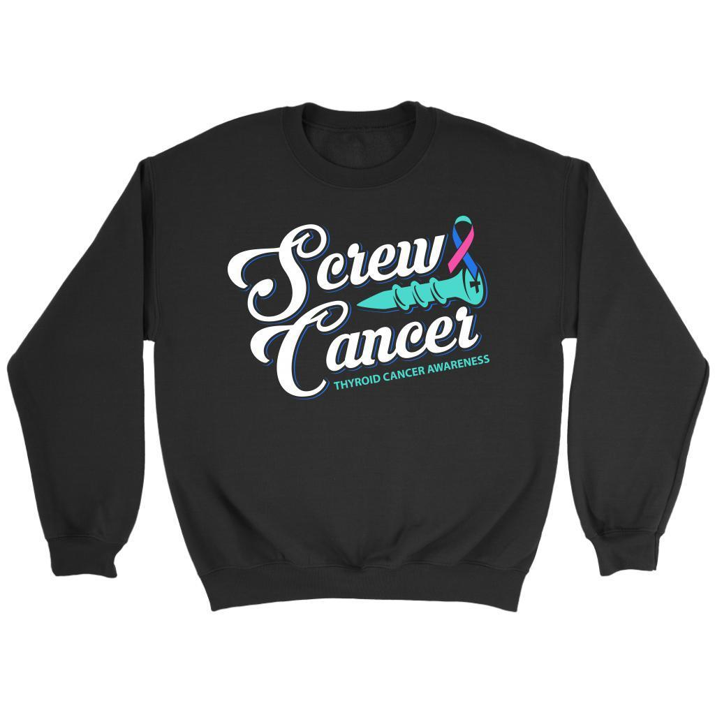 Screw Thyroid Cancer Awareness Teal Pink & Blue Ribbon Awesome Gift Idea Sweater-T-shirt-Crewneck Sweatshirt-Black-JoyHip.Com