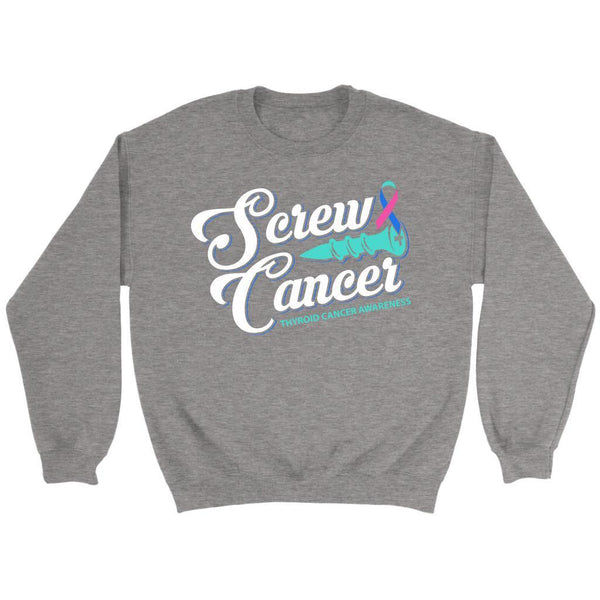 Screw Thyroid Cancer Awareness Teal Pink & Blue Ribbon Awesome Gift Idea Sweater-T-shirt-Crewneck Sweatshirt-Grey-JoyHip.Com